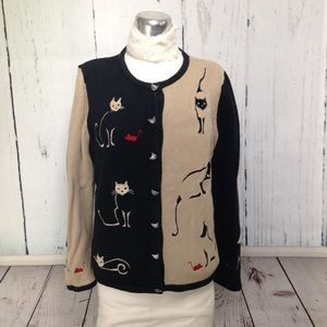 Cat Lady Embroidered Cardigan Sweater